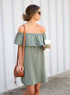 **** Get beautiful looks like this one today from Stitch Fix delivered right to your door! Want this olive off the shoulder dress for Spring Summer! So adorable! Stitch Fix Spring, Stitch Fix Summer, Stitch Fix Fall 2016 2017. Stitch Fix Spring Summer Fall Fashion. #StitchFix #Affiliate #StitchFixInfluencer