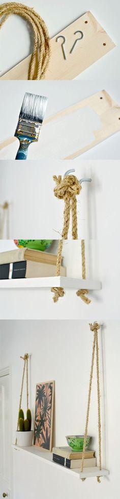 Une étagere en suspension, fait-maison.  #Nabao #Déco #Récup #DIY