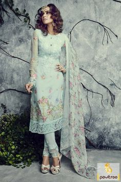 A wonderful and eye cooling sky blue georgette party wear salwar kameez buy online from surat dress. Pakistani style salwar kameez is outfit for festival 2015-16. #salwarsuit, #casualsalwarsuit more: http://www.pavitraa.in/store/pakistani-salwar-kameez/