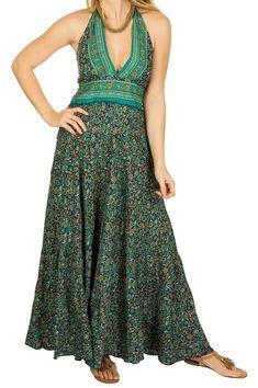 Bohemian maxi jurk blauw groen flower