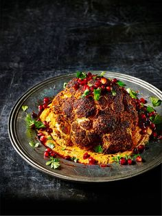 Check out our vegan roasted cauliflower with warm harissa hummus. This cauliflower recipe makes for a great side dish when feeding a hungry crowd. Plus it's low in calories and it's gluten free
