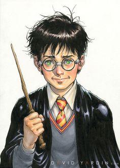Harry Potter by David Yardin Harry Potter Portraits, Harry Potter Artwork, Harry Potter Films, Harry Potter Drawings, Harry Potter Tumblr, Harry Potter Anime, Harry Potter Hermione, Harry Potter World, Garri Potter