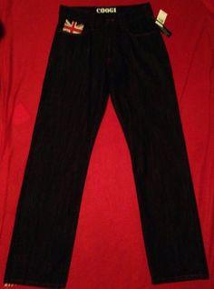 NWT Mens Coogi Australia Great Britain Flag Black Denim Jeans Size 32 X 34 #coogi #blackdenimjeans #mensjeans #urban #swag