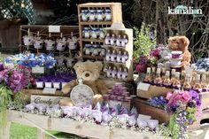 www.kamalion.com.mx - Mesa de Dulces / Candy Bar / Postres / Bautizo / Morado & Azul / Purple & Blue / Vintage / Rustic Decor.