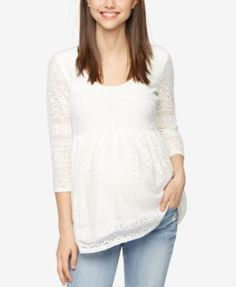A Pea In The Pod Maternity Crochet Peplum Top