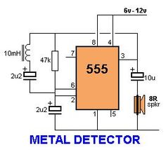 This circuit is under:, sens detectors, metal detector circuits, Metal detector with 555 This circuit detects metal and also magnets. Electronics Mini Projects, Electronics Basics, Hobby Electronics, Electrical Projects, Electronics Gadgets, Electronic Circuit Design, Electronic Engineering, Arduino, Metal Detektor