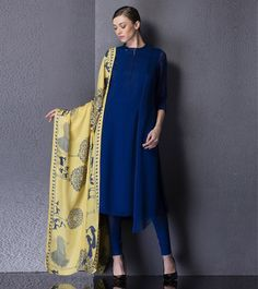 Am:Pm Electric Blue Embroidered Georgette Kurta Set