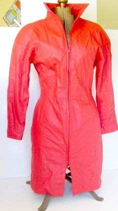 Vintage Red Leather Dress Sexy Lipstick Red by nanascottagehouse, $135.00