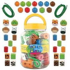 Zoo Wooden Bead Set Possum Pie Stephen Joseph Arts and Crafts, Gifts and Toys, Bags and Backpacks