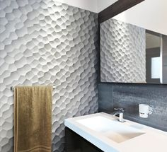 Textured wall tiles in small doses for accents. 3d Wall Tiles, Wall Tiles Design, Textures Murales, Area Industrial, Panneau Mural 3d, 3d Wall Decor, 3d Wall Panels, Tiles Texture, Deco Design