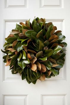 Beautiful magnolia leaves - this is one of the more unique uses of them in a wreath.