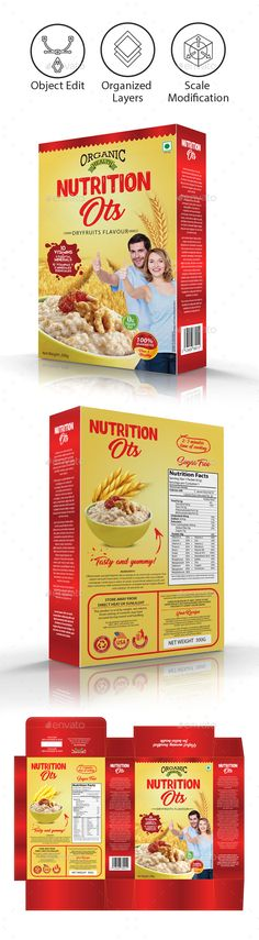 Oats / Cereal #Packaging Template - Packaging #Print #Templates Download here: https://graphicriver.net/item/oats-cereal-packaging-template/18847832?ref=alena994