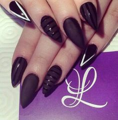 @ lparis_nails - MATTE NAILS / BLACK NAIL POLISH / STILETTO NAILS / POINTY NAILS / NAIL ART / NAIL DESIGN