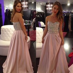 Strapless Beads Crystal Prom dress L6 dress