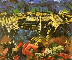 The Burning City 1913 Ludwig Meidner Kandinsky, Georg Heym, Ludwig Meidner, Karl Schmidt Rottluff, Burning City, George Grosz, Degenerate Art, Art Through The Ages, Harlem Renaissance