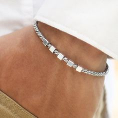 """ITALIAN SILVER Impressive high-quality gentle bracelet, made of Solid 925 Sterling Silver. PRODUCT SPECIFICATIONS Product ID: 11-0967-829 Metal Purity: Solid 925 Sterling Silver Safety Lobster Lock Thickness: DIA 0.11"""" / 2.9mm Weight: 0.3 oz - 0.37 oz / 8.5g - 10.5g. It could be a minor difference in the bracelet weight that depends on the bracelet size. Size range from 7 to 10 inch Made in Italy Included: Silver & Gold polishing cloth with lasting shine. DON'T KNOW YOUR BRACELET SIZE? USE T Ankle Bracelets, Bracelets For Men, Beaded Bracelets, Silver Man, 925 Silver, Ring Watch, Bracelet Sizes, Bracelet Making, Sterling Silver Bracelets"""