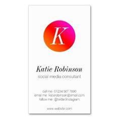 Sunset red ombre monogram business card