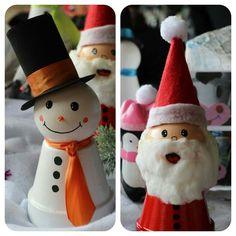 Bonhomme de neige et père Noël en pot  de terre