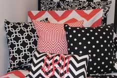 Coral and Black custom dorm bedding dynamic bedding set.  Just mailing out today!  Get yours...perfect for dorm or home! Love the monogram