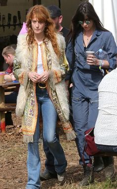 Florence Welch and Daisy Lowe attend Glastonbury Festival