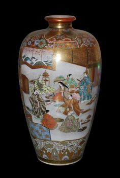 "Japanese antique ""Satsuma"" ware porcelain vase. Very nice details and gold leaf accents. Signed by the maker. Late 19th century. 10"" high."