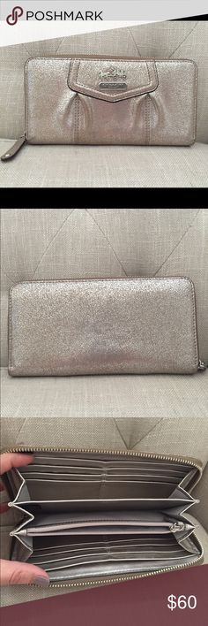 Metallic Gold/Pewter Coach Accordian Wallet Coach Metallic Gold/Pewter crackled Accordian Wallet.  A couple of marks on the front and on the inside.  Marks are barely noticeable.  Smoke free home.  Offers welcomed using the offer button!!!! Coach Bags Wallets