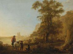 Albert Cuyp - Landschap met een ruiter en figuren