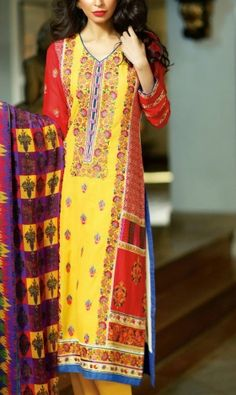 Yellow Embroidered Cotton Lawn Salwar Kameez