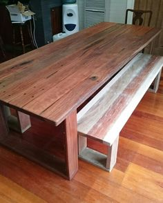 Recycled grey and red iron bark timber table and bench seats. Pulled from a St Kilda board walk.  I used Vic ash edging on bench seats to soften.