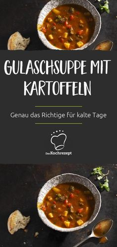 Gulaschsuppe mit Kartoffeln This goulash soup with potatoes is so outrageously tasty – it is also okay if the soup takes some time to braise. Our tip: cook a lot of goulash soup! Because everyone's skin is pure. Crock Pot Recipes, Easy Soup Recipes, Healthy Chicken Recipes, Potato Recipes, Vegetarian Recipes, Dinner Recipes, Vegetable Soup Healthy, Healthy Vegetables, Vegetable Recipes