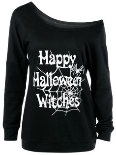 $13.33 Skew Collar Happy Halloween Witches T-Shirt