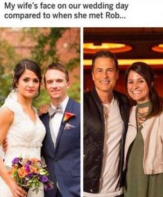 My Wife's Face On Our Wedding Day Compared To When She Met Rob - Funny Memes. The Funniest Memes worldwide for Birthdays, School, Cats, and Dank Memes - Meme Funny Shit, Funny Cute, Really Funny, Funny Posts, The Funny, Funny Memes, Hilarious, Funny Stuff, Funny Things