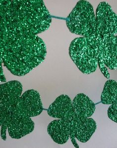"""#Deco_Dots Shape and Bake by #burtonandburton #St_Patricks_Day #lucky #green #banners #Shamrock  #DIY Glitter Plaques #DIY clover banners for less than $3.00 6-6"""" clovers #party #events #weddings #glitter #four_leaf_clover"""