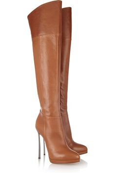 Casadei Leather Thigh Boots in Brown (camel) - Lyst Thigh High Boots, High Heel Boots, Over The Knee Boots, Heeled Boots, High Heels, Sexy Boots, Sexy Heels, Crazy Shoes, Me Too Shoes