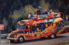 Ken Kesey Riding on Top of Furthur Bus Merry Pranksters Poster   eBay