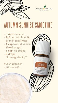 Nutmeg Vitality Start your morning off right with an autumn sunrise smoothie! With bananas, milk, Greek yogurt, and Nutmeg Vitality essential oil, you'll be able to experience your favorite holiday without hurting your healthy lifestyle. Cooking With Essential Oils, Yl Essential Oils, Young Living Essential Oils, Yl Oils, Smoothie Prep, Raspberry Smoothie, Smoothie Recipes, Young Living Vitality, Recipe For Teens