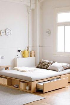 Drawer idea, but on a bigger platform  Storage under bed - simple bed