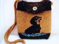 Dachshund, Doxie, felted purse, felted handbag, needle felt purse, needle felt art, custom dog purse, $175, dog accessories, www.feltedfantasi...