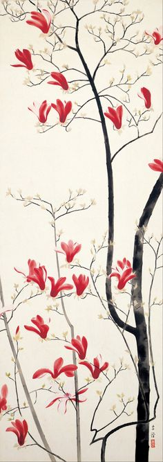 Magnolia Tree ( 1919) colour on silk by Kobayashi Kokei (1883 - 1957).