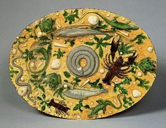 Attributed to Bernard Palissy  French, Paris, about 1550  Lead-glazed earthenware  18 7/8 x 14 1/2 in.  88.DE.63 Oval Basin (Getty Museum)