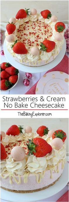 No bake cheesecake with fresh strawberries, all natural colour and flavour!