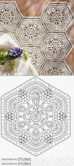 Crochet Motif - Free Crochet Diagram - by carlani Crochet Doily Diagram, Crochet Motifs, Crochet Squares, Thread Crochet, Crochet Crafts, Crochet Doilies, Crochet Flowers, Crochet Lace, Crochet Projects