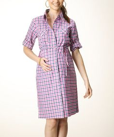 Take a look at this Pink & Navy Gingham Maternity Shirt Dress by Rosie Pope Maternity on #zulily today!
