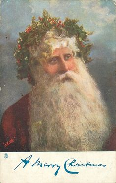 A MERRY CHRISTMAS  Santa head and shoulders, with crown of holly Santa Claus, St. Nick, Father Time, Christmas