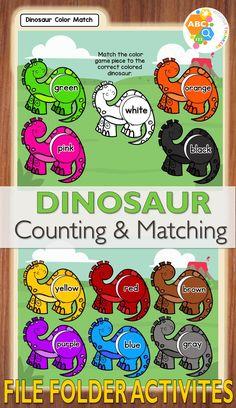 Dinosaurs Preschool, Preschool Colors, Dinosaur Activities, Preschool Learning Activities, Preschool Printables, Preschool Lessons, Folder Games For Toddlers, File Folder Activities, File Folder Games