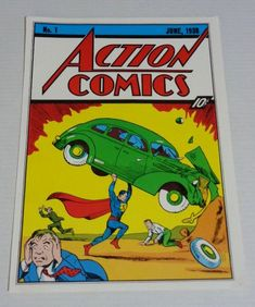 Vintage original 1970's DC Action Comics 1 Superman cover art pin-up poster: 1978 Classic DC Universe Man of Steel comic book poster pinup