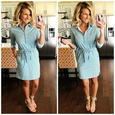 Work Wear // Perfect work dress for Spring and Summer // Shirt Dress and Strappy Sandals // Spring Dress // Casual Work Outfit Inspiration // Dress of the Day // Spring Fashion - Casual Dresses - Ideas of Casual Dresses Spring Dresses Casual, Casual Dress Outfits, Curvy Outfits, Casual Summer Outfits, Trendy Dresses, Spring Outfits, Nice Dresses, Dresses For Work, Summer Dresses