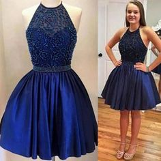 Halter backless Royal Blue Beaded homecoming prom dresses The Halter Royal blue homecoming prom dresses are fully lined, 8 bones in the bodice, chest pad in the bust, lace up back or zipper back are a Hoco Dresses, Dresses For Teens, Dance Dresses, Cute Dresses, Freshman Homecoming Dresses, Navy Blue Homecoming Dress, Vestidos Color Azul, 8th Grade Formal Dresses, Dream Dress
