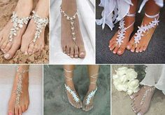 Bare foot beach sandles for the bride and bridesmaids