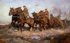 """Harold Septimus Power """"Adelantando los cañones"""" 1917 Cañones de la 101ª Batería Australiana avanzando en la batalla de Passchendaele."""